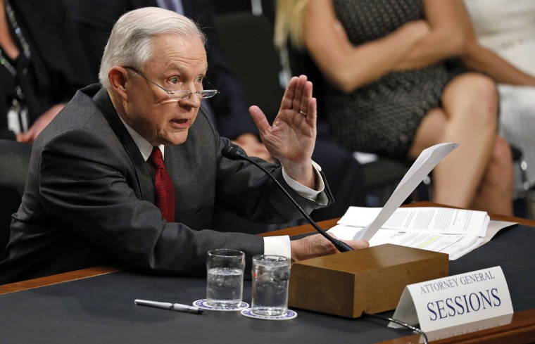 Image: U.S. Attorney General Jeff Sessions testifies before a Senate Intelligence Committee hearing on Capitol Hill in Washington