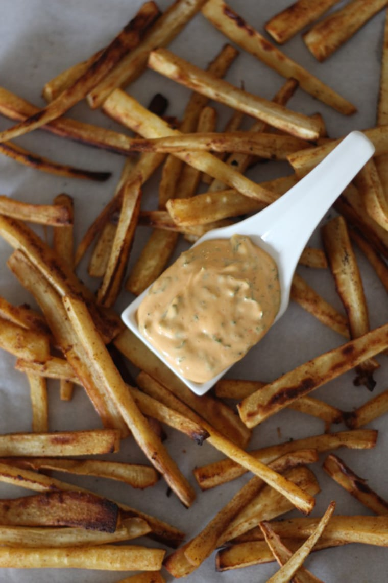 Image: Paprika parsnip fries with Sriracha dipping sauce