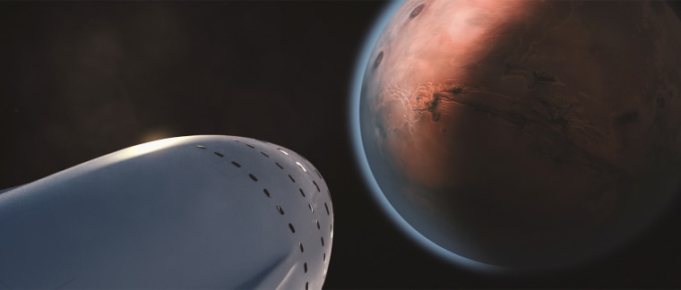Artist's illustration of a SpaceX colony ship arriving at Mars. The company aims to help establish a million-person city on the red planet.