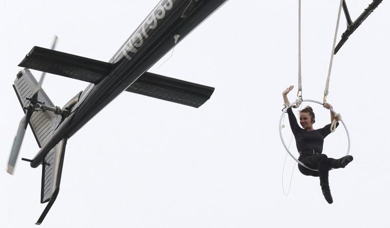 Erendira Wallenda performs acrobatic stunts above Niagara Falls.