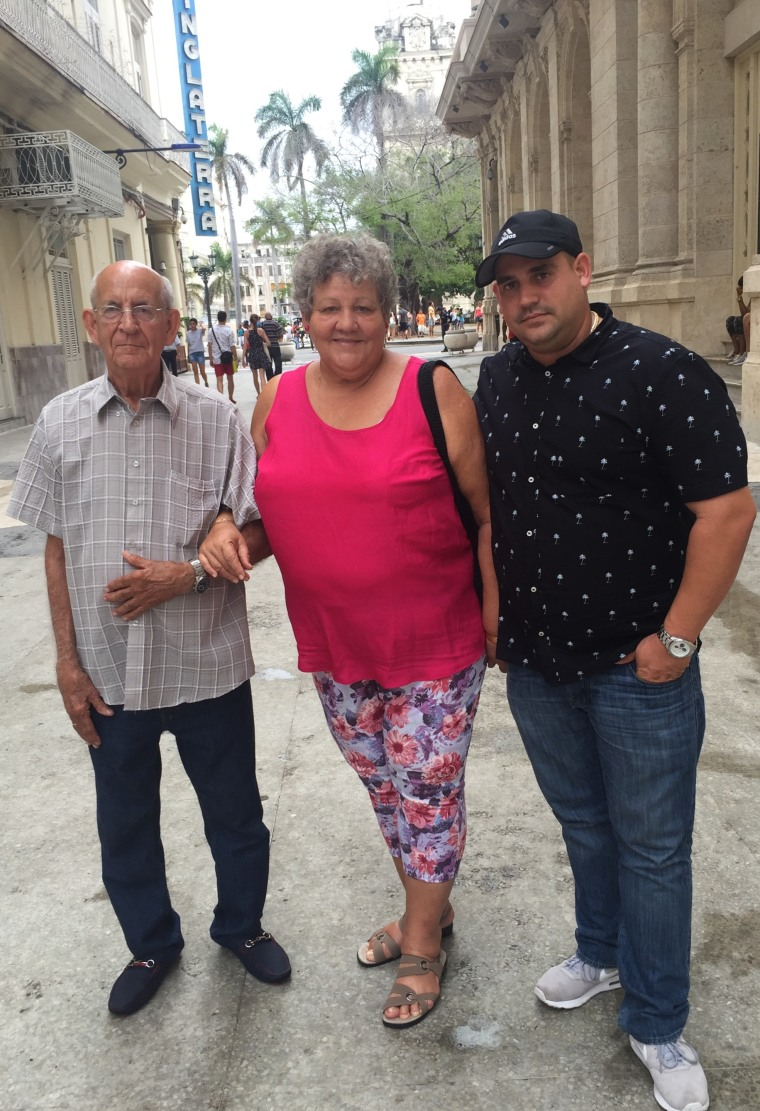 Yaniel Guevara (right) in a picture taken with his parents in Old Havana in August 2016.