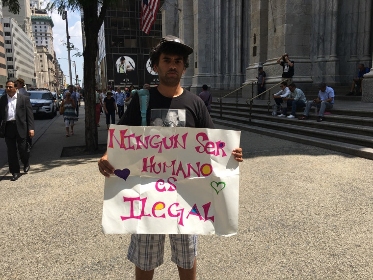 Activist Felix Cepeda outside St. Patrick's Cathedral in New York City.
