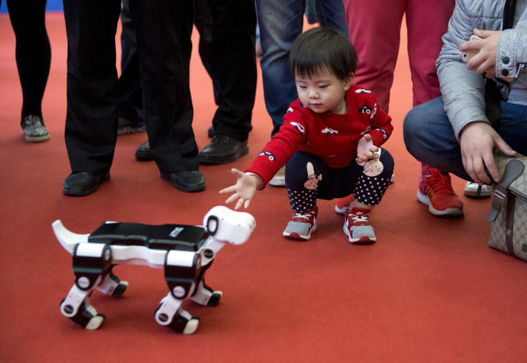 A child reaches out to a robotic dog at the World Robot Conference in Beijing in 2016.