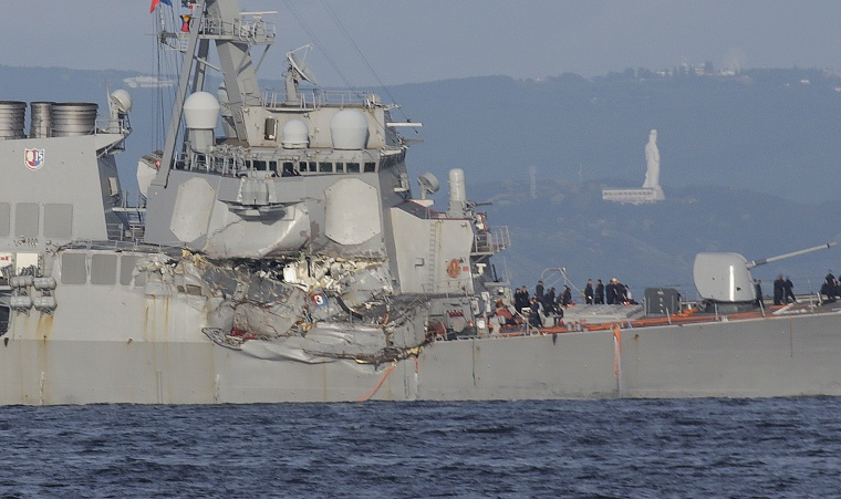 The damaged USS Fitzgerald is seen near the U.S. Naval base in Yokosuka, southwest of Tokyo, after the destroyer collided with a container ship off the Izu Peninsula June 17, 2017.