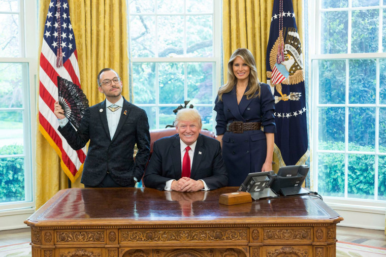 Image: Rhode Island's 2017 teacher of the year, Nikos Giannopoulos, with President Donald Trump and First Lady Melania Trump.