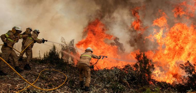 Image: Portuguese Republican National Guard soldiers fight the fire in Capela Sao Neitel, Alvaiazere, central Portugal, June 18.