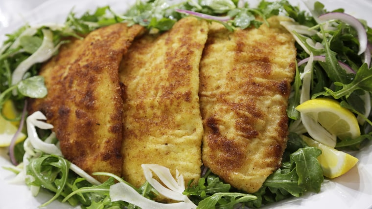 Bill Telepan's Crispy Oven-Baked Flounder over Arugula Salad