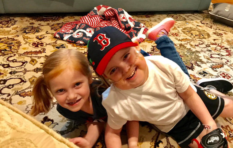 Ari Schultz and his little sister, Lexi, reunite the day after he left Boston Children's Hospital after 189 days.