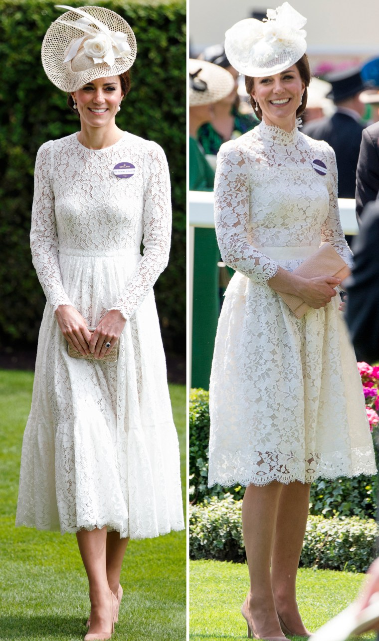 Duchess Kate in 2016 (left) and in 2017 at the Royal Ascot opening.