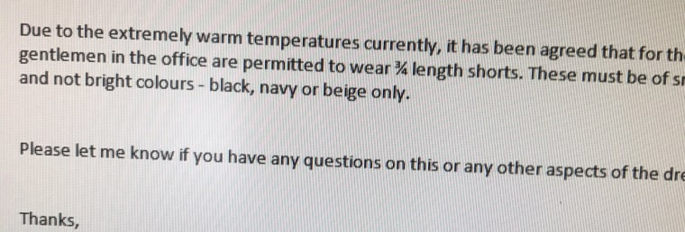 Barge tweeted this photo of an email from his company, amending its 'no shorts' rule for men at the office.