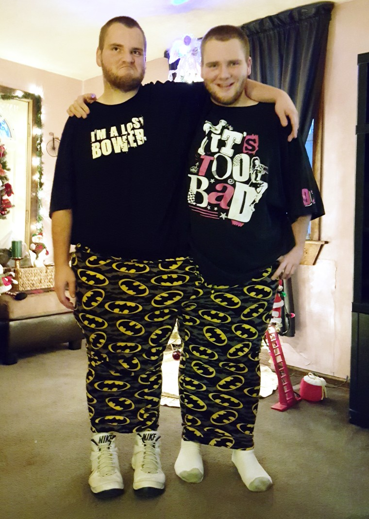 Since twins Dillon and Cory lost weight, about 175 and 167 pound, respectively, the two can fit into one pair of pyjama pants that one of them wore when they weighed more than 400 pounds.