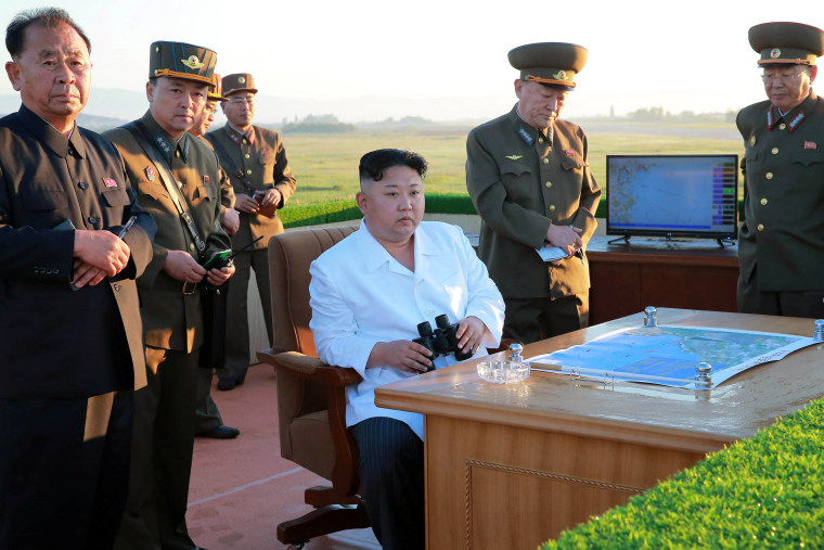 Image: North Korean leader Kim Jong Un watches the test of a new-type anti-aircraft guided weapon system organised by the Academy of National Defence Science
