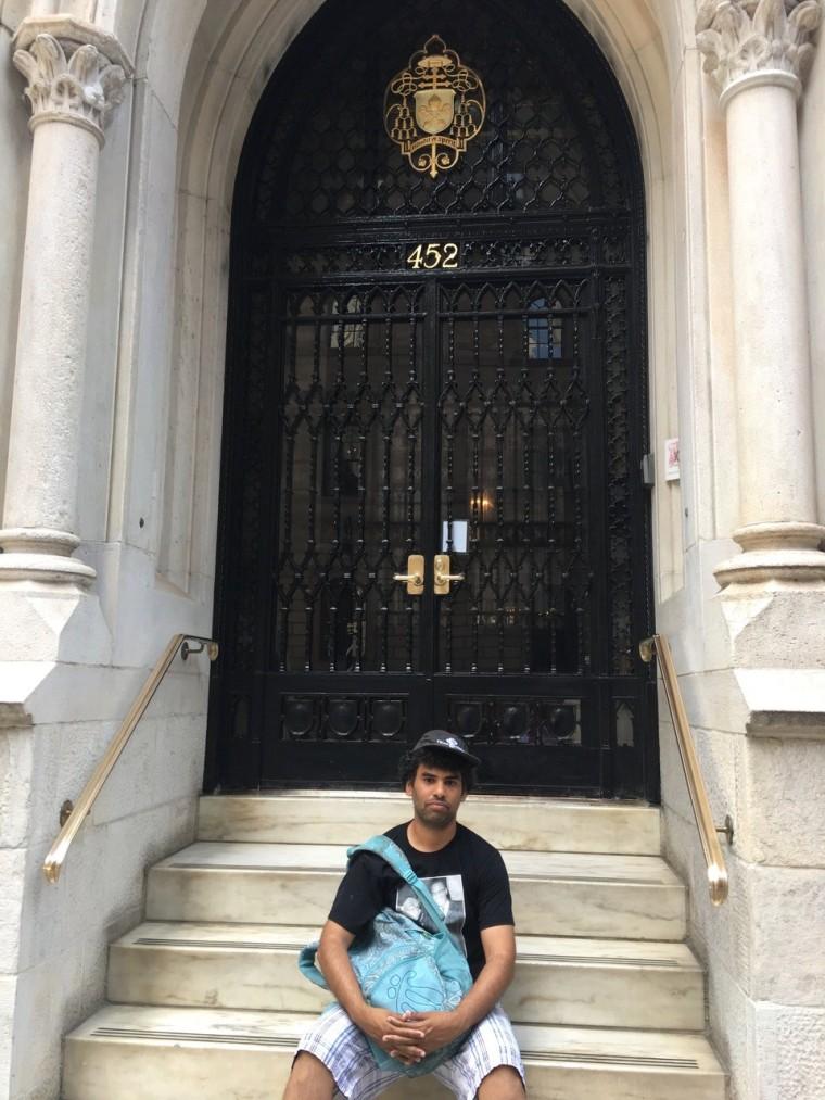 Activist Felix Cepeda keeps a vigil at Cardinal Timothy Dolan's residence, NYC.