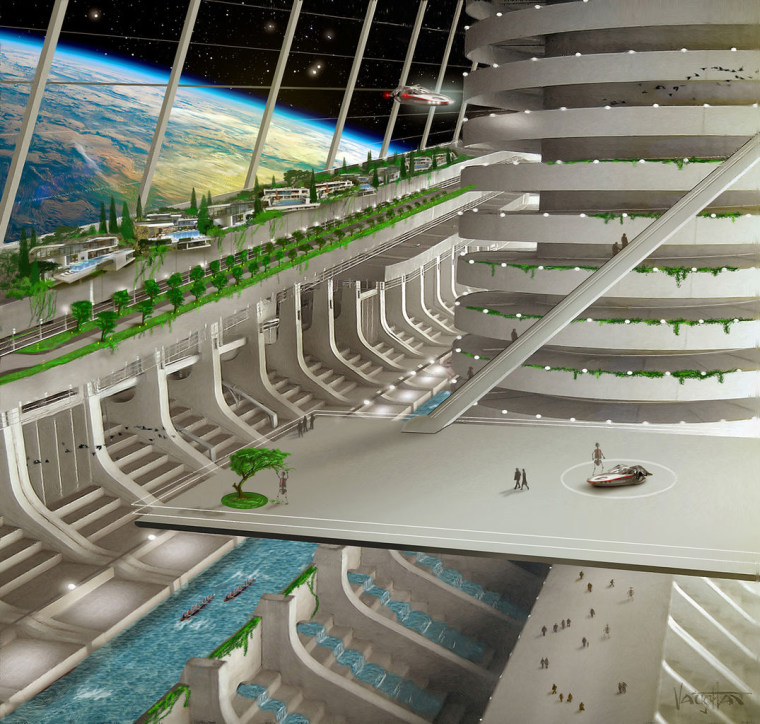 The interior of a space colony as visualized for the space-based nation Asgardia.
