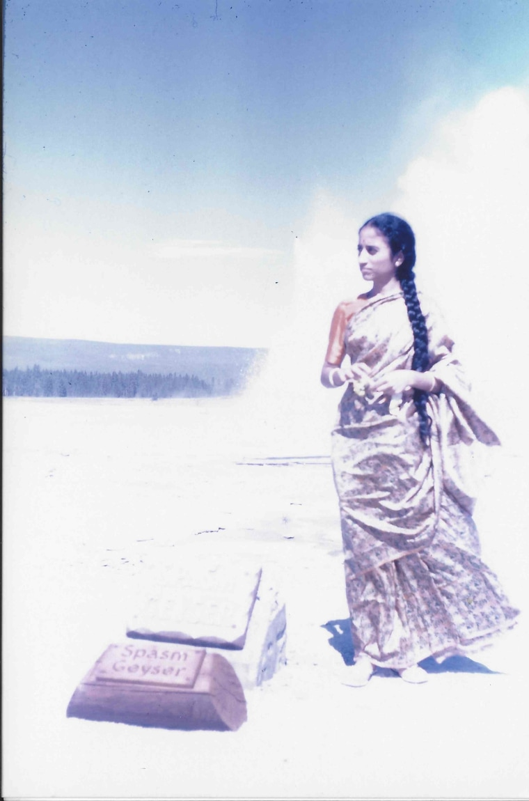 Sumana Reddy's mother in Yellowstone National Park, during a road trip from Bozeman, Montana in 1964.