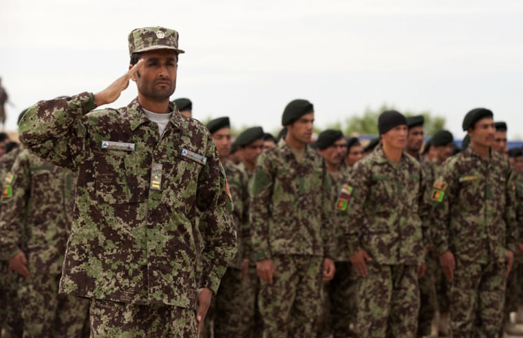 Afghan National Army soldiers wear forest camouflage uniforms.