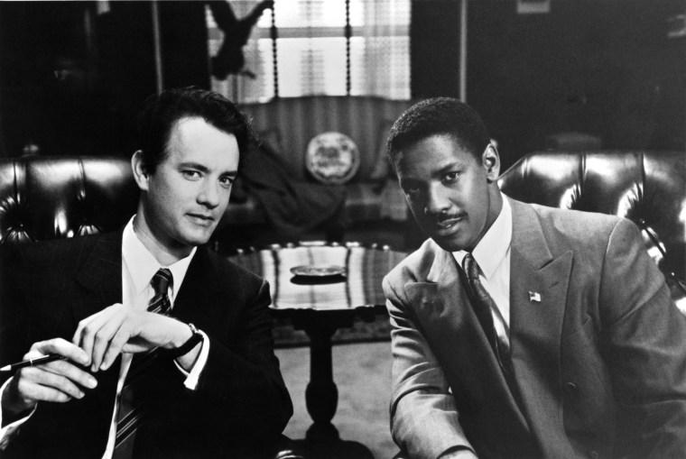 "Image: Tom Hanks and Denzel Washington on the set of ""Philadelphia"" in 1993"