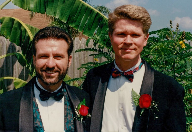 Nicholas Cardello (left) and Kurt English at their 1993 commitment ceremony
