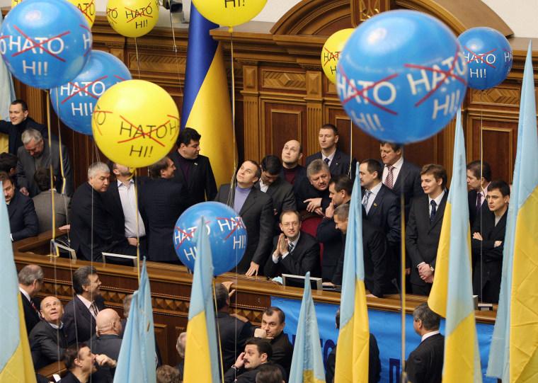 Image: Ukrainian Parliament speaker Arseniy Yat