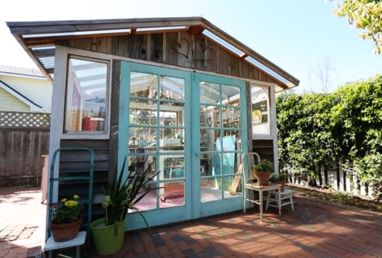 """Jenny Karp built this """"She Shed"""" with a local shed designer and builder using mostly recycled materials - and a little help from her husband."""