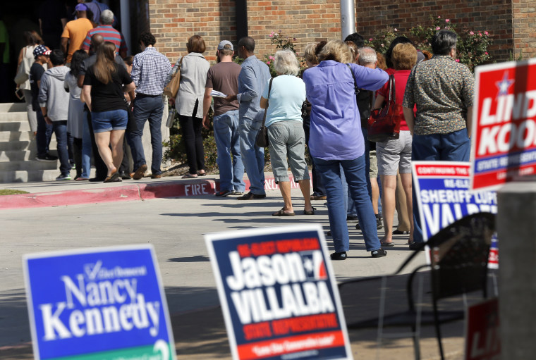 A photo of early voters as they wait in line at a voting location, Thursday, Oct. 27, 2016, in Dallas.