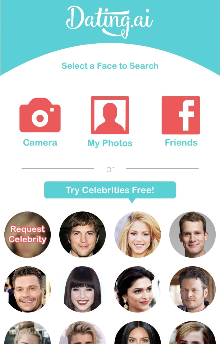 Image: Dating.ai is an app that uses artificial intelligence to find the dating profiles of people who look like your favorite celebrity
