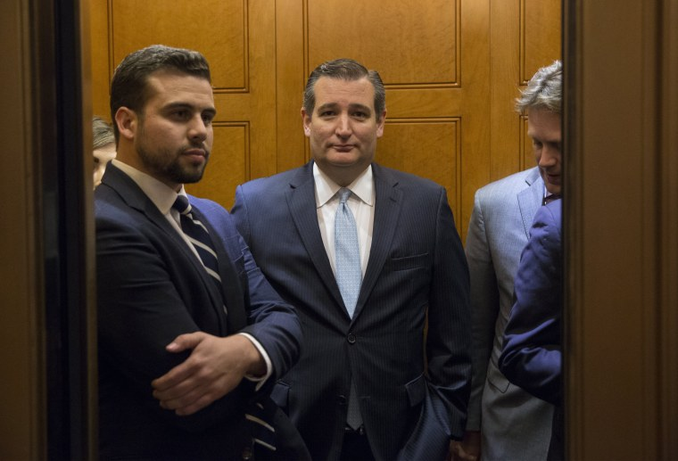 Image: Republican Senator from Texas Ted Cruz gets in an elevator after leaving the Senate chamber on Capitol Hill