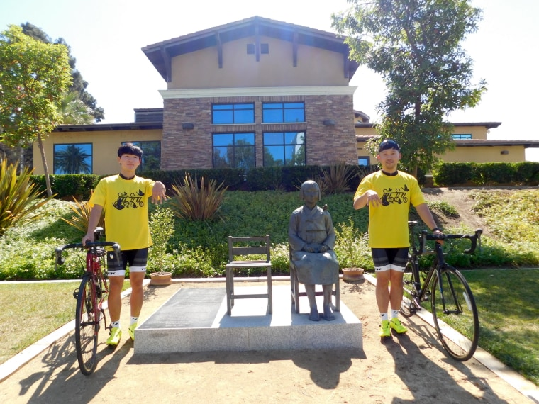 "Yong-joo Jo (left), 21, and Joo-young Ha (right), 25, will bike from Los Angeles to New York to raise awareness about ""comfort women"" who were forced into Japanese military-run brothels during World War II. The two will make stops in major cities along the way - including Albuquerque, Chicago and Washington D.C. - to demonstrate outside the Japanese Consulates."