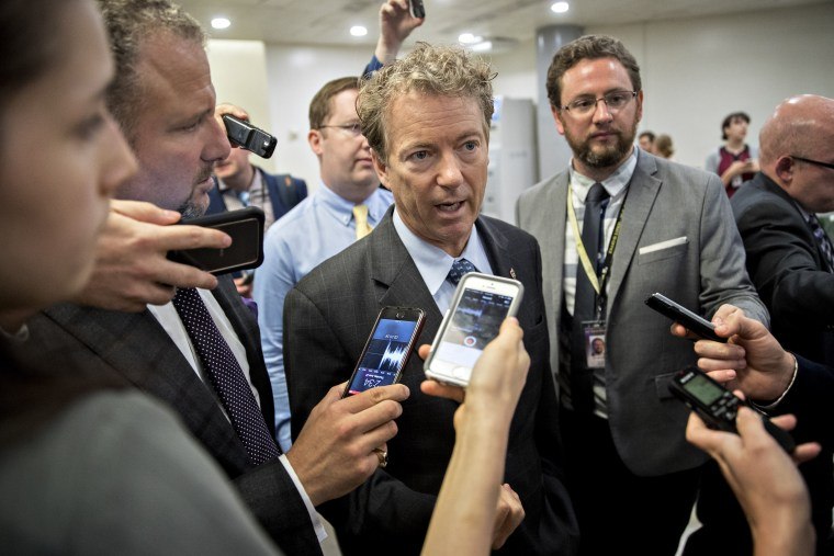 Image: Senator Rand Paul, a Republican from Kentucky, speaks to members of the media in the basement of the U.S. Capitol