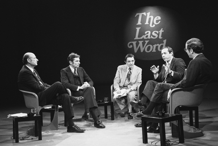 New York mayoral candidate Mario Cuomo, running for the Liberal Party, second from right, speaks during a televised debate moderated by Gabe Pressman on Nov. 8, 1977. From left, Democratic candidate Ed Koch, Conservative candidate Barry Farber, Pressman, Cuomo, and Republican candidate Roy Goodman.