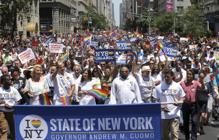 In this June 26, 2016 photo, marchers filled the street during New York City's pride parade.