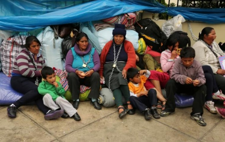 Residents of the town Cerro de Pasco in the Peruvian Andes chained themselves outside of the health ministry to protest for what they describe as rampant pollution from a sprawling polymetallic mine operated by Peruvian mining company Volcan, in Lima