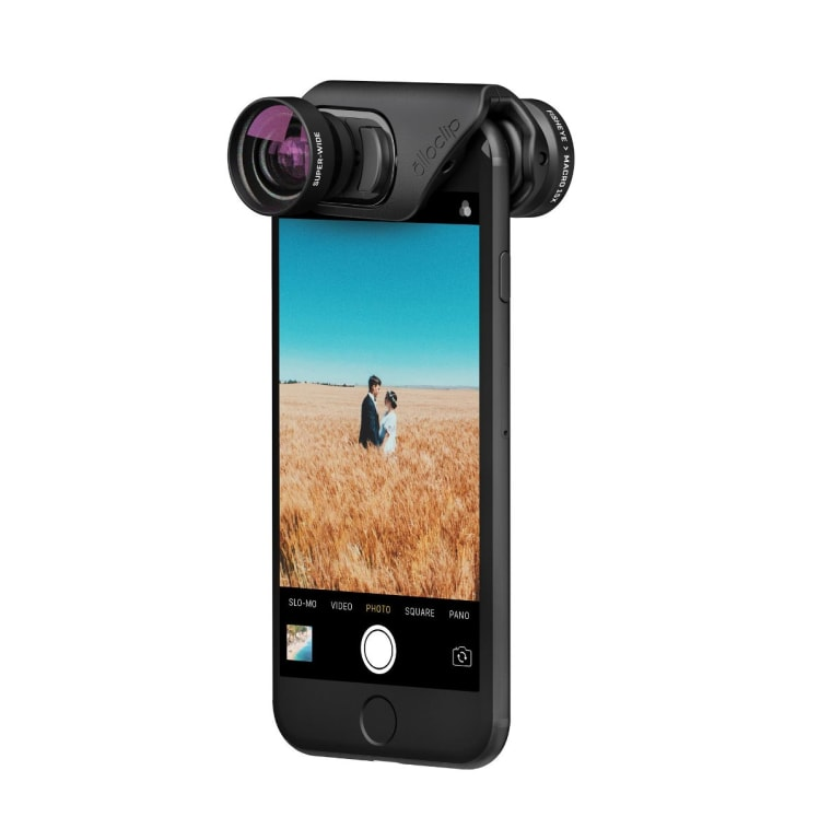 These Olloclip lenses slip onto the top of an iPhone and can be used on either the front or rear-facing camera for all your selfie needs!