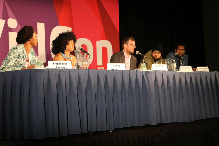 From left to right: Franchesca Leigh, Jouelzy, John Green, Humza Arshad, and Sam Saffold. The five content creators spoke on a panel about YouTube's Creators for Change initiative during the 8th Annual VidCon held in Anaheim, California, June 23, 2017.