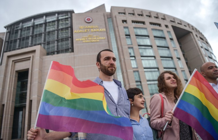 Image: Eleven activists were put on trial for taking part in last year's pride march, which was banned.