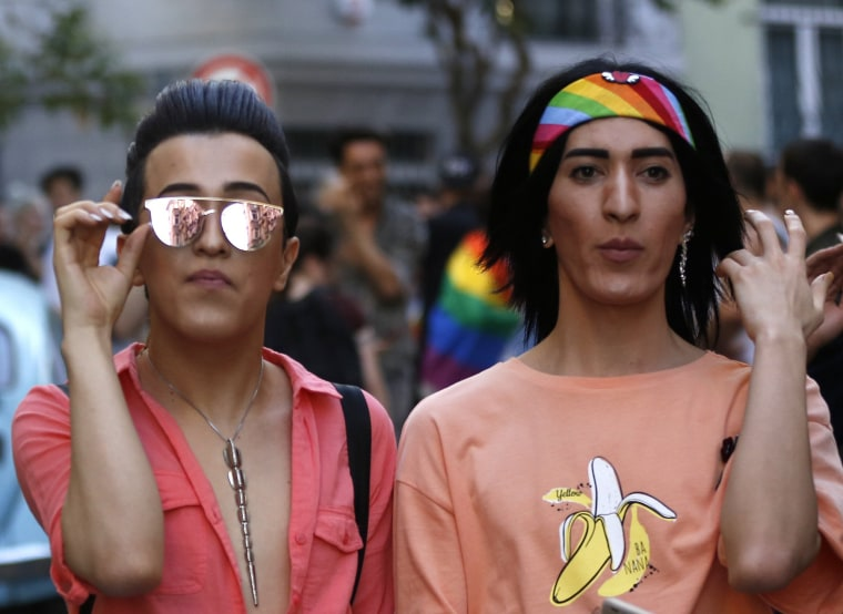 Image: Participants walks during Istanbul LGTB Pride Parade which was cancelled due in Istanbul,