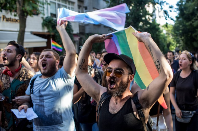 Image: LGBT supporters march towards Taksim Square in Istanbul