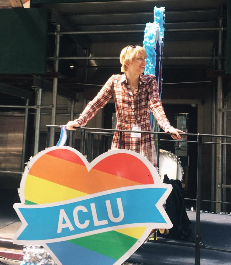 Image: Chelsea Manning smiles during the NYC Pride Parade