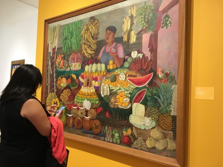 """This painting, """"La vendedora de frutas (The Fruit Vendor)"""" by Olga Costa, who was friends with Frida Kahlo, is part of a Dallas Museum of Art exhibit of 50 years of art from Mexico."""