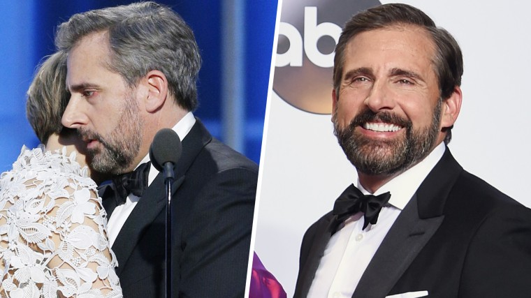 Steve Carell at the Golden Globes on January 8, 2017 and at the Academy Awards on February 26.