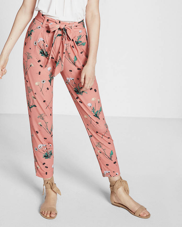 Floral Print Jersey Sash Pant