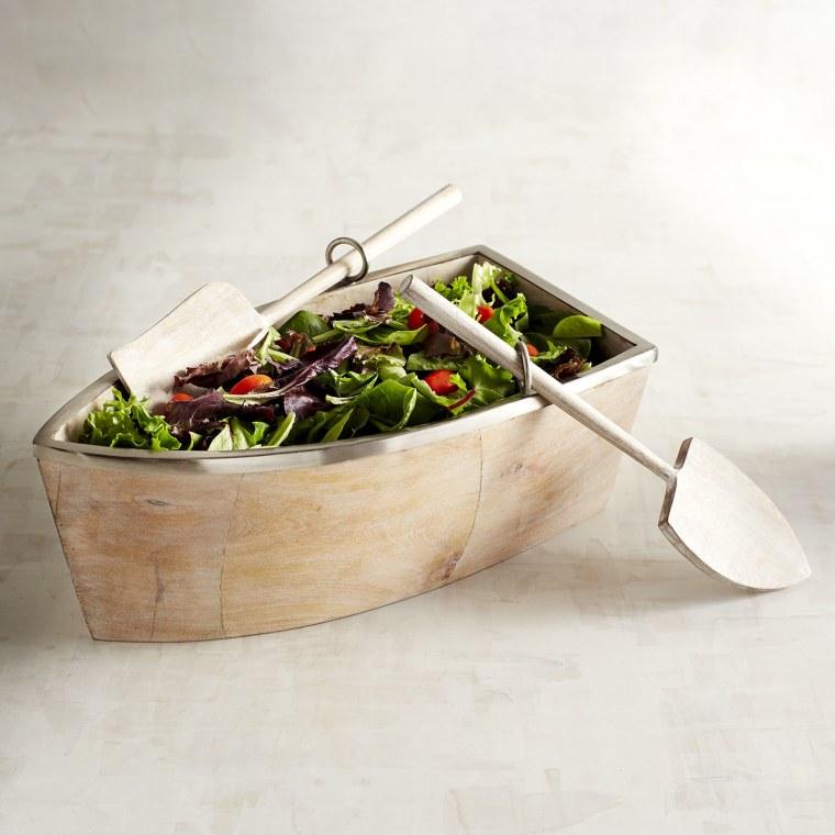 Wood Boat Serving Bowl Set