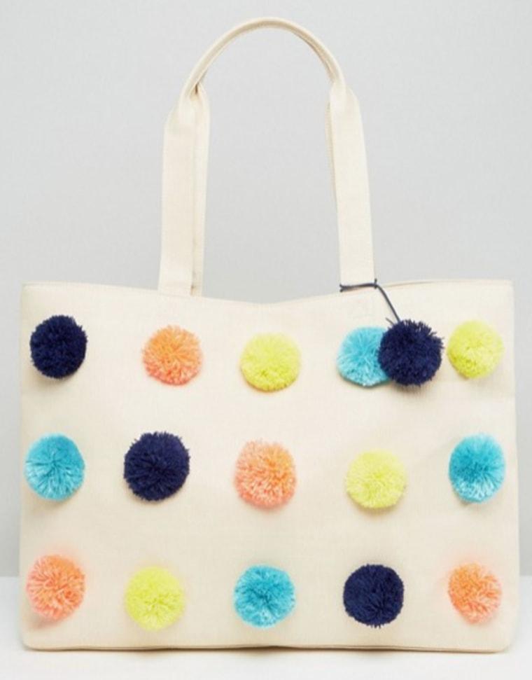 ASOS BEACH Multi Pom Shopper Bag