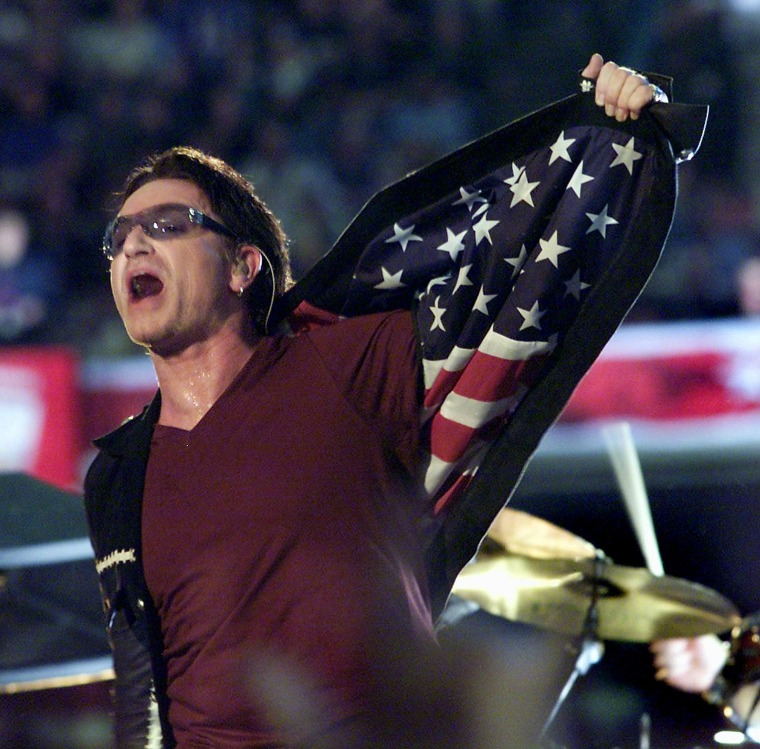 Bono, singer with the Irish rock group U2, opens h