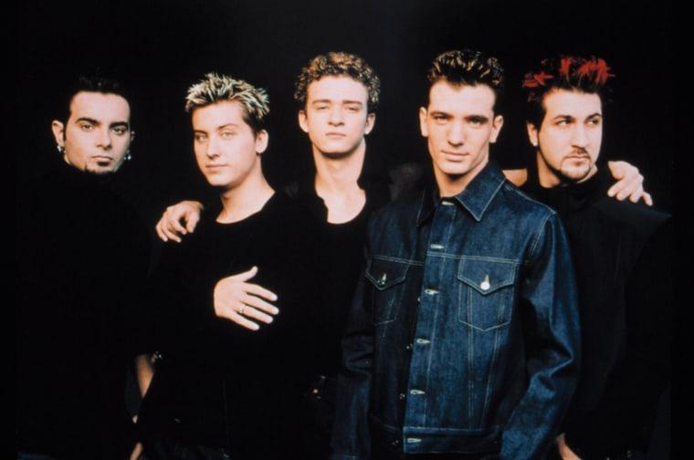 'NSync members Chris Kirkpatrick, Lance Bass, Justin Timberlake, J.C. Chasez, and Joey Fatone