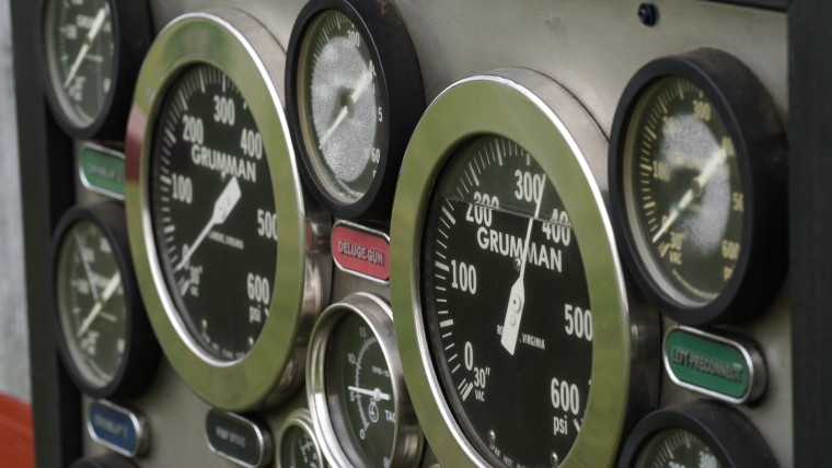 The Kernohans stripped down an old fire truck and used items like this pressure gauge panel to create their replica firehouse.