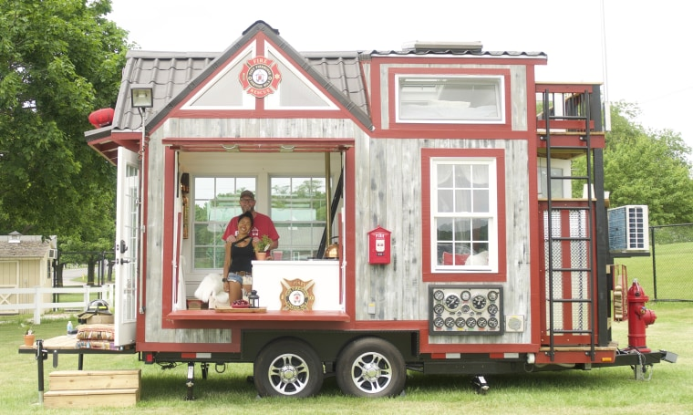 John and Fin Kernohan spent five weeks putting together their tiny tribute firehouse, dedicated to helping first responders.