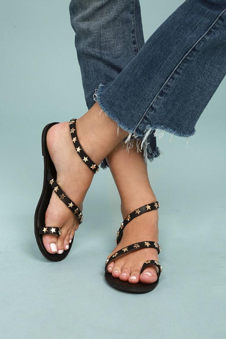 Alexi Black Studded Star Sandals
