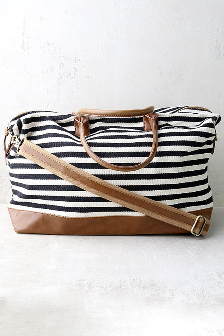Lulus Exclusive Jet Setter Cream and Black Striped Weekender