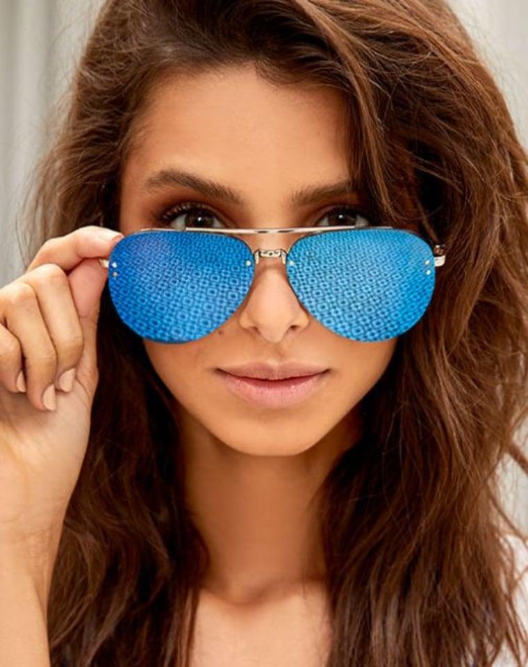 Style Radar Blue Mirrored Aviator Sunglasses